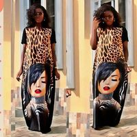 Free Shipping African Dresses For Women Short Sleeve Leopard Print Long Gown Dashiki Fashion Style Riche