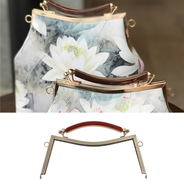 New Fashion 1PC Metal Frame Clasp Handle Lock For Sewing Coin Purse Bag  Accessories DIY 20.5cm Bronze Light gold e654cc64f7d1e