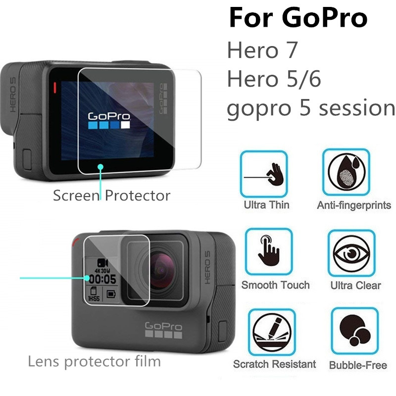 100PCS Tempered Glass for GoPro Hero 7 6 5 Session Camera Screen Protector and Lens Protective