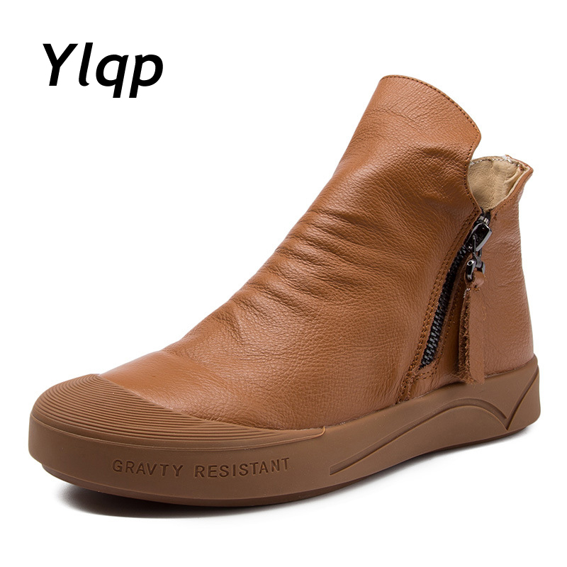 2018 Spring New Casual Genuine Leather Women Shoes Outdoor Zipper Ankle Boots Pleated Shoes Retro Flat