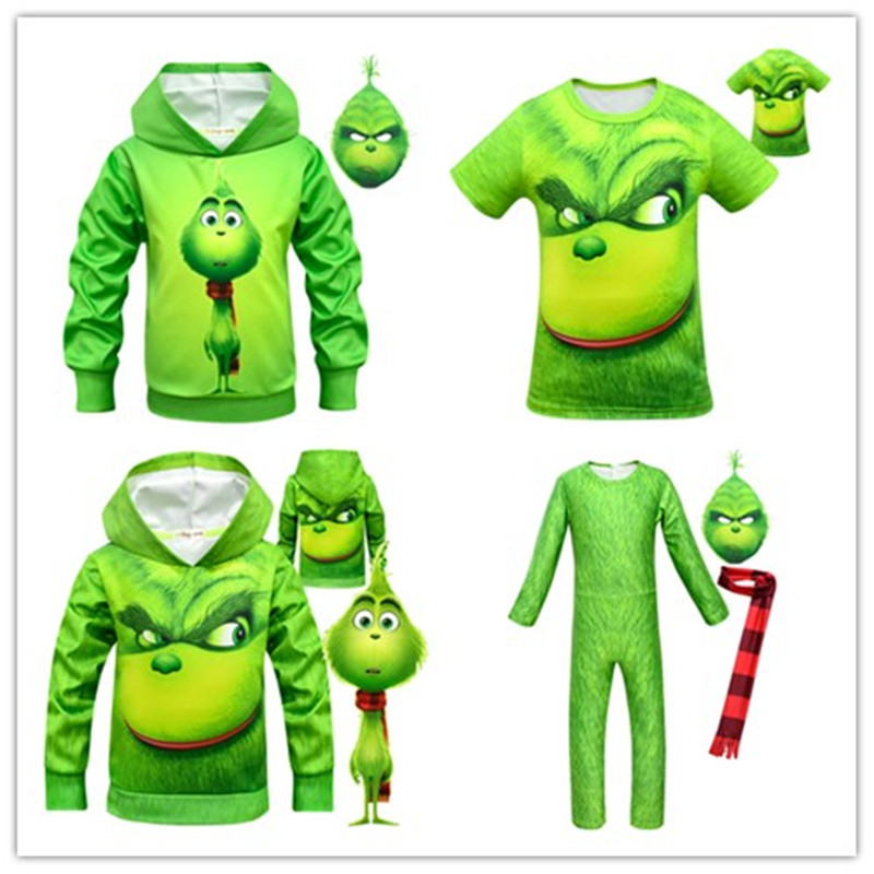 European And American Anime Green Monster Greenwich The Grinch One-piece Clothes Sweater T-shirt To Play Clothing