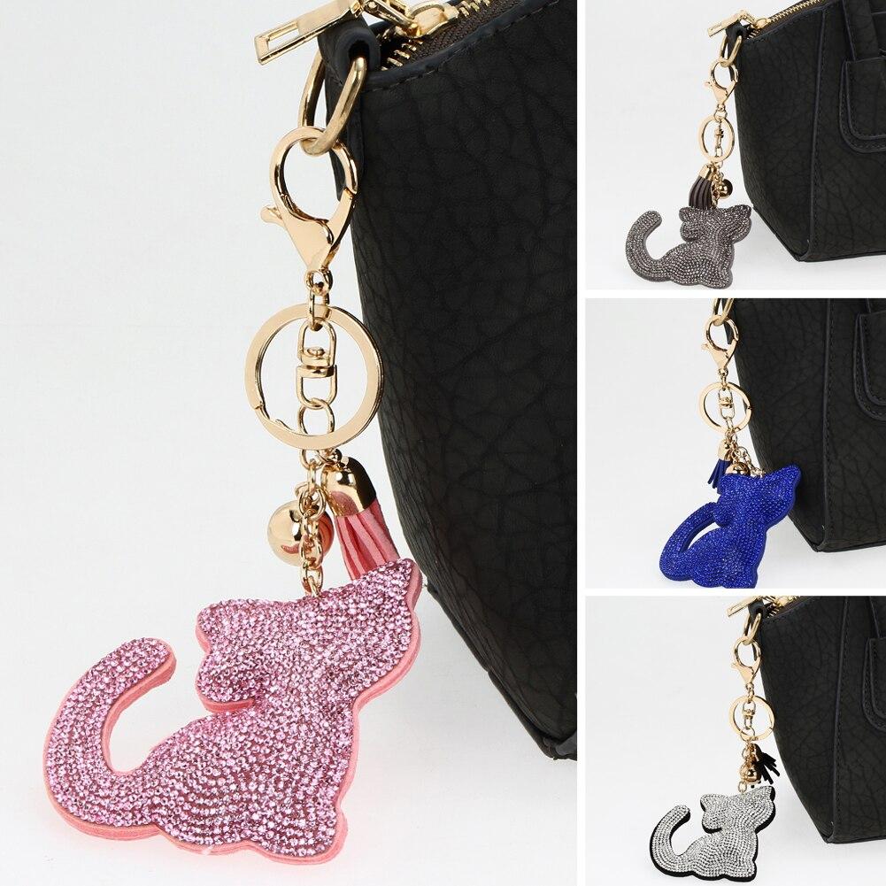 Charm Crystal Cat Keychains