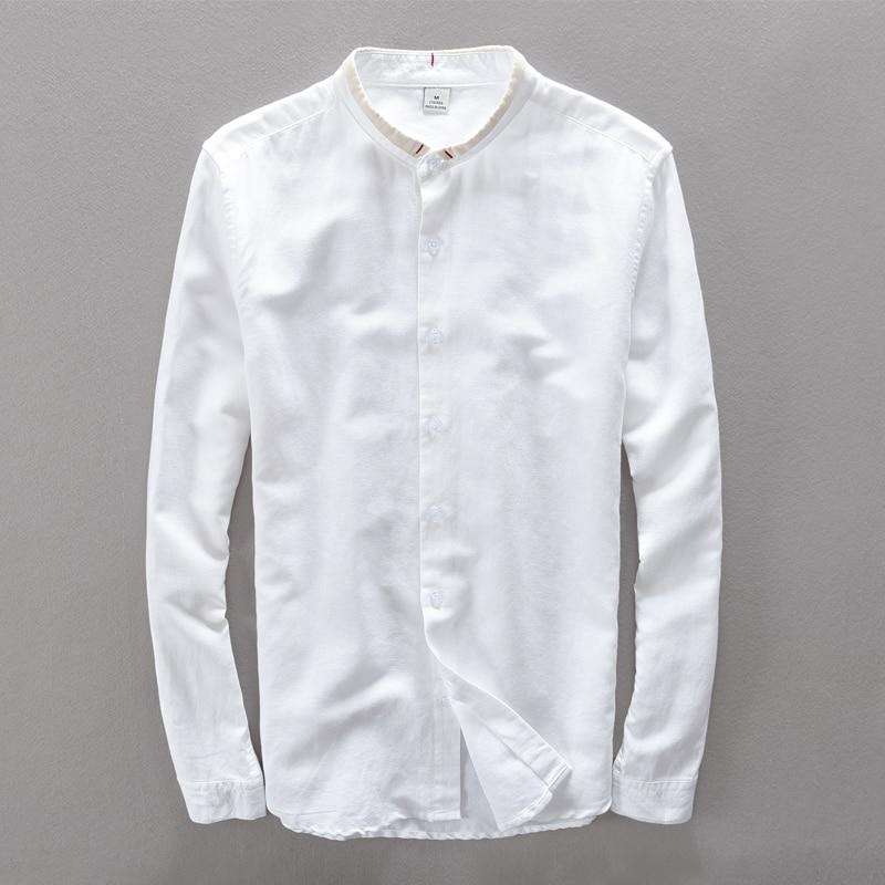 중국 스타일 작은 거꾸로 칼라 단색 긴 소매 셔츠 남성 리넨 코튼 남성 셔츠 봄 여름 남성 셔츠 Masculina