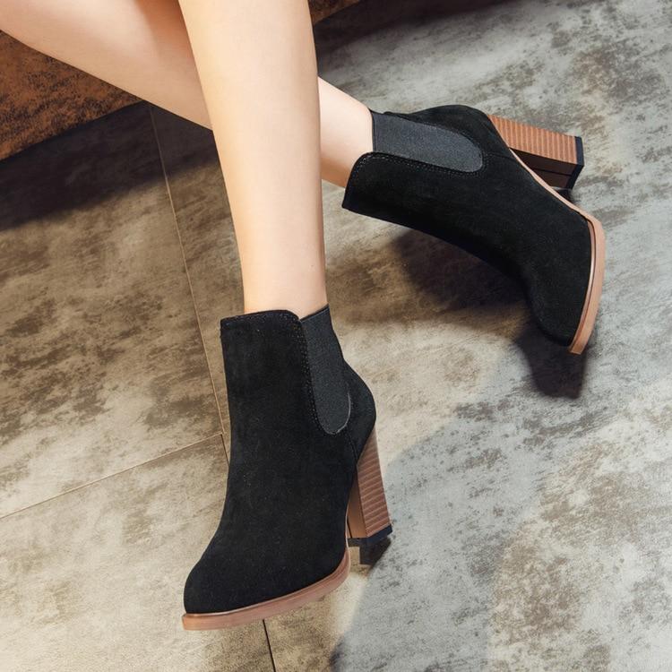 De 18hot Scrub Tamaño Invierno Otoño 39 Gamuza Sólidas 35 Beige Con Zapatos Martin marrón Botas Mujer negro Europea Cuero Grueso Las Señoras rr0Zawq