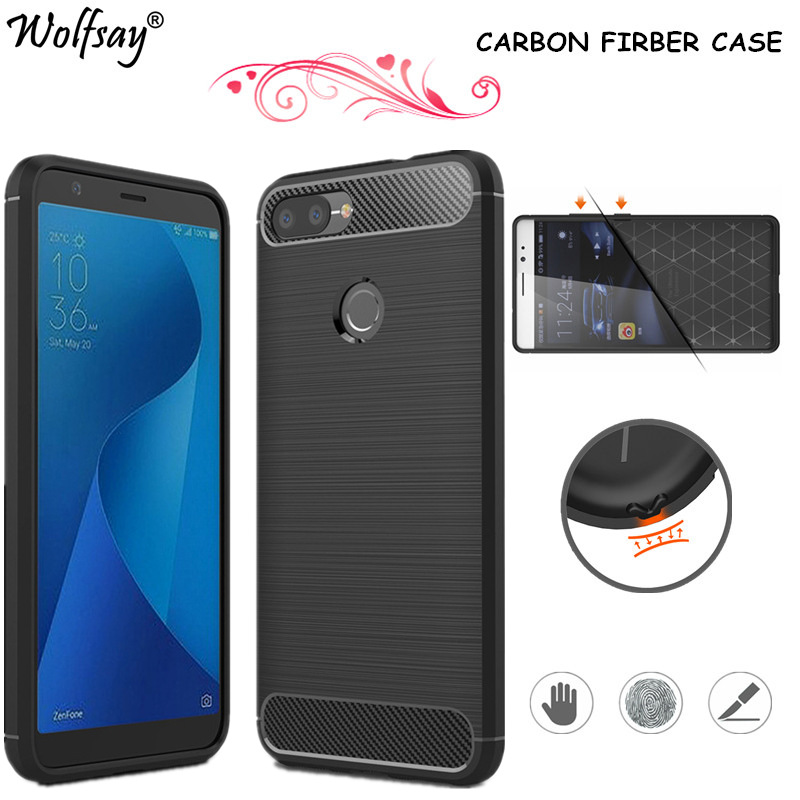 low priced e3263 26357 Wolfsay sFor Phone Cover Asus ZenFone Max Plus Case X018D Carbon Fibe  Silicone Case For Asus ZenFone Max Plus M1 ZB570TL Case