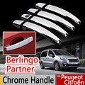 Para Peugeot Partner Citroen Berlingo II 2008-2016 Chrome Handle Covers Guarnição Conjunto de 4 Pcs Acessórios Adesivos de Carro Styling Tepee