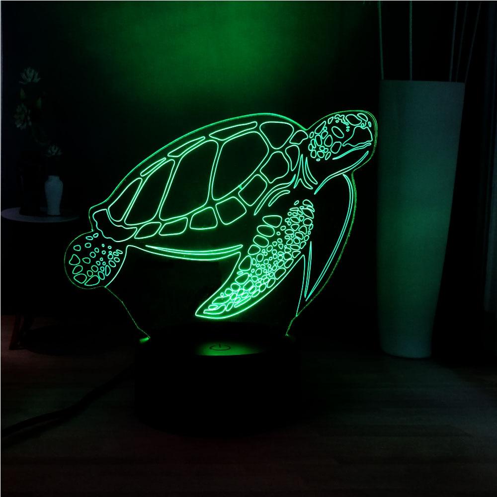 Cute New Sea Turtle 3D LED Acrylic Panel Illusion RGB Home Bedside USB Remote Mood Light