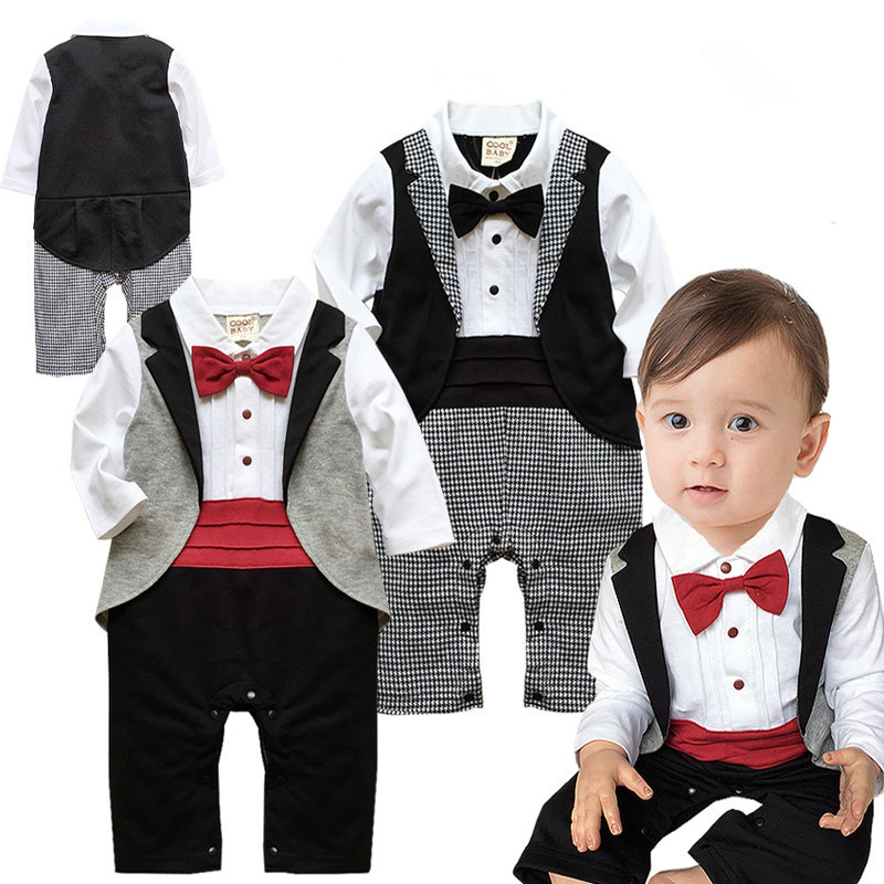 2019 New Baby Boys Clothes In Spring And Autumn Baby Pure Cotton   Romper   Gentleman Bow Tie Piece Jumper Long Sleeve Baby Clothing