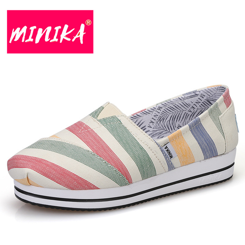 MINIKA New Arrival Flat Platform Shoes Women Colorful Design Rainbow Pattern Women Casual Shoes Height Increase Women Loafers new arrival ship pattern design brooch for female