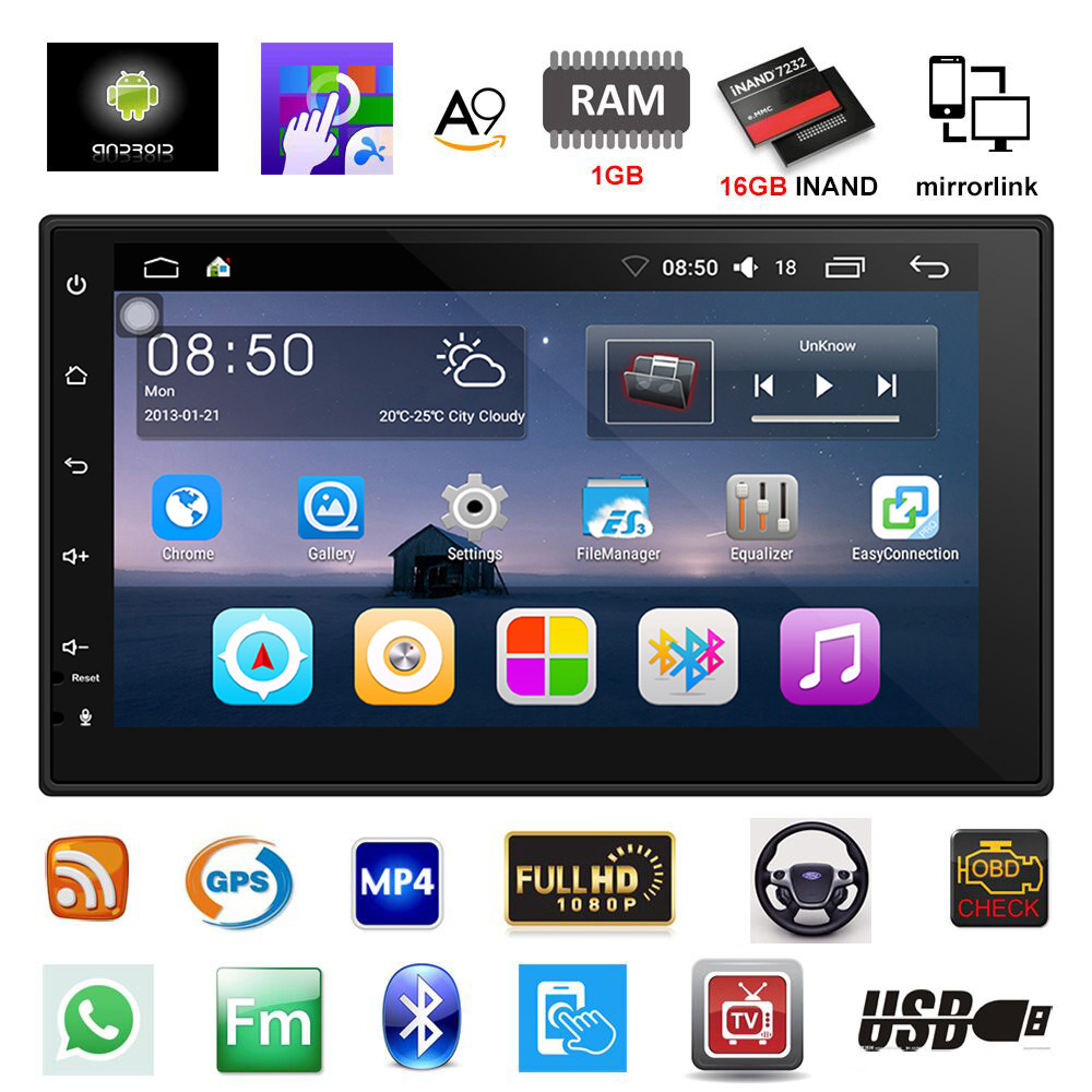 7 Double 2DIN Car Radio Stereo MP5 Player Quad Core Android 7.1 System With WIFI GPS Navigation Bluetooth Support Rear Camera7 Double 2DIN Car Radio Stereo MP5 Player Quad Core Android 7.1 System With WIFI GPS Navigation Bluetooth Support Rear Camera