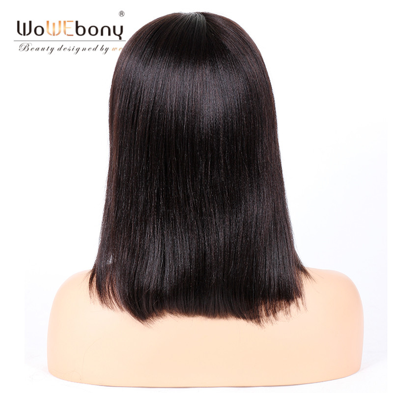 WoWEbony Glueless Lace Front Wigs Indian Remy Hair Light Yaki Straight Bob Wigs with Bangs [BOBL19]