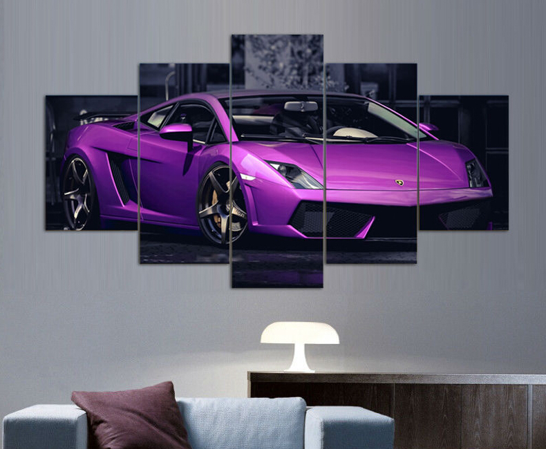 Framed Printed Pink Car Poster Group Painting Room Decor Print