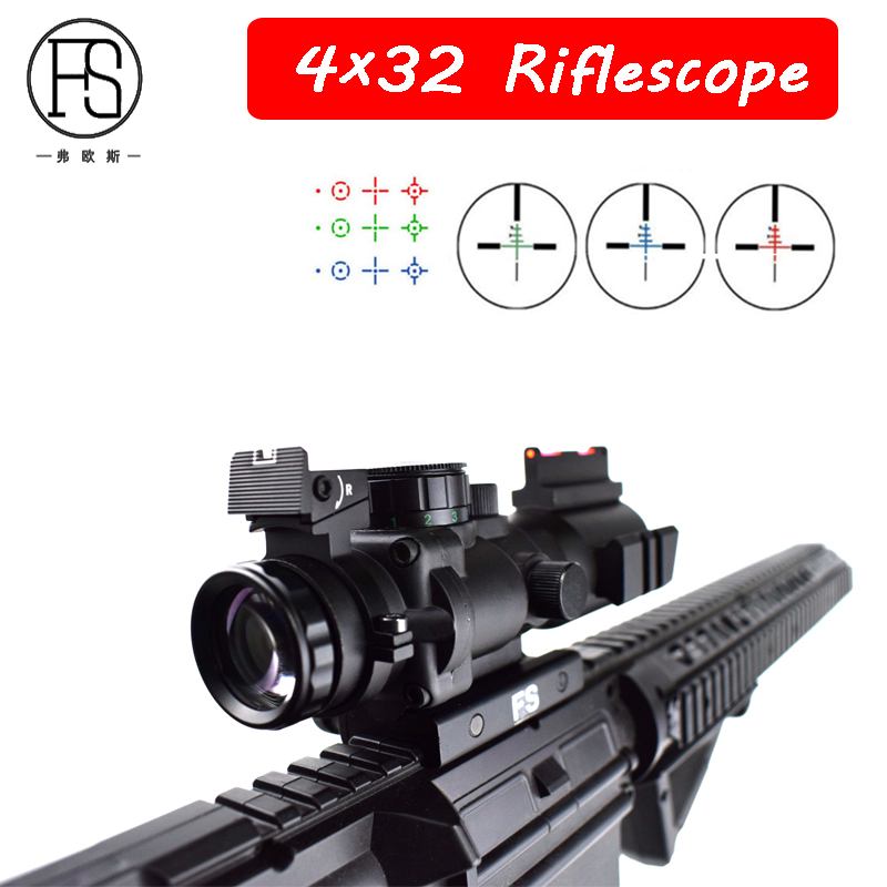 Tactical 4x32 Reticle Optics Scope Hunting Shooting Use Military Sniper Riflescopes Red Green Blue Fiber Sight 20mm Mount tactical 4x32 rifle scope red dot green optics fiber hunting shooting m9430