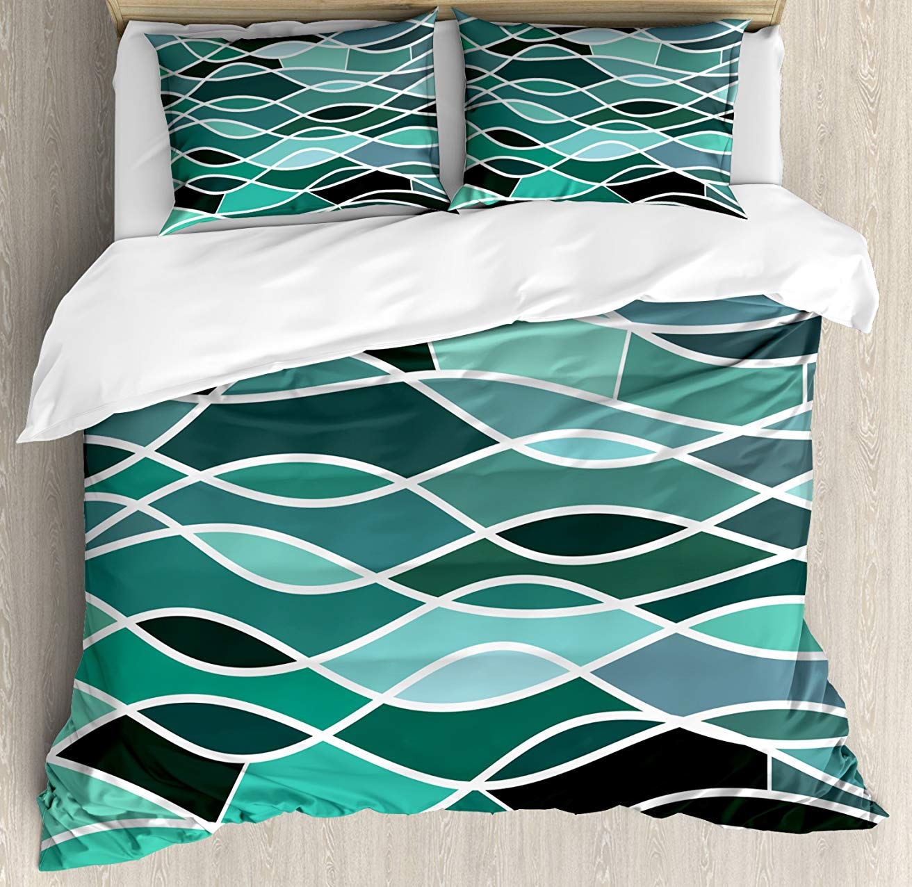 Seafoam Duvet Cover Set Stained Glass Pattern with Wavy Lines and Mosaic Abstract Geometric Composition 3 Piece Bedding SetSeafoam Duvet Cover Set Stained Glass Pattern with Wavy Lines and Mosaic Abstract Geometric Composition 3 Piece Bedding Set