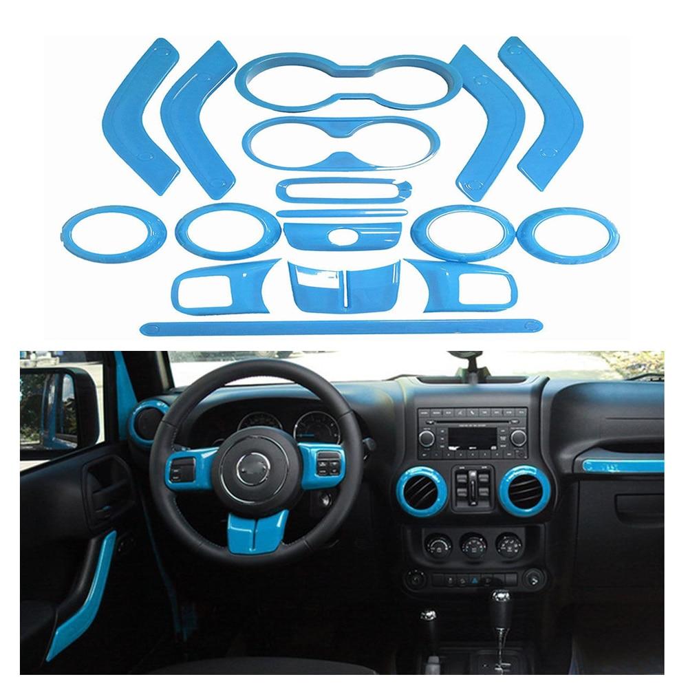 18 pièces bleu clair ensemble complet décoration intérieure kit d'outils pour habillage poignée de porte climatisation ventilation couverture garniture pour Jeep Wrangler Jk 11-18
