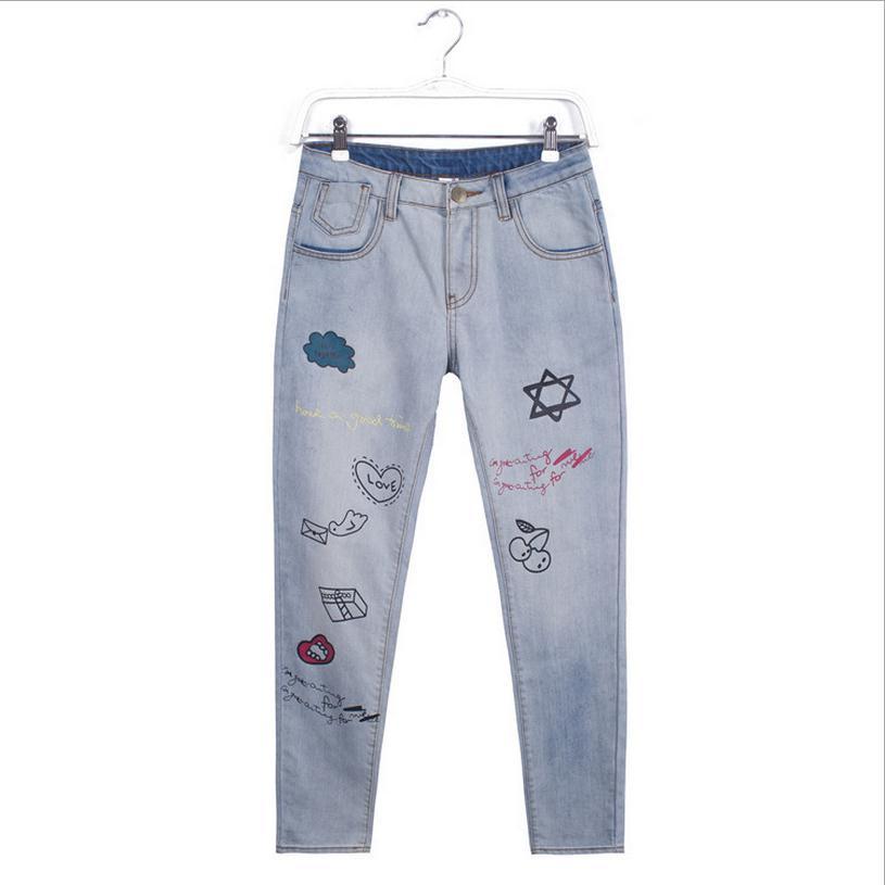 2XL 7XL plus size cotton Ankle Length Pants 2017 new fashion women s Cartoon pattern jeans