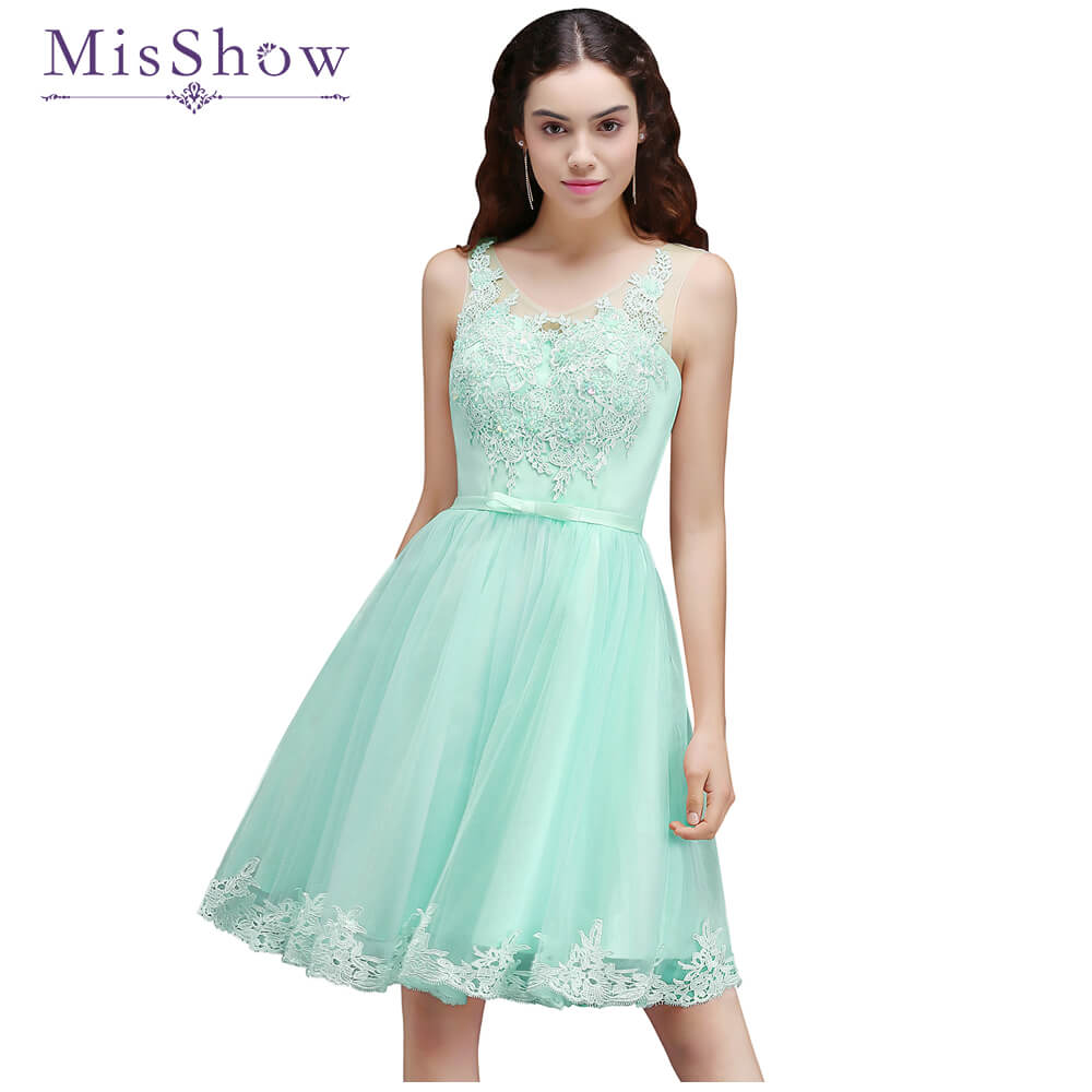 MisShow A line Lace Tulle Prom Dresses 2018 Short Mint Green Pink ...