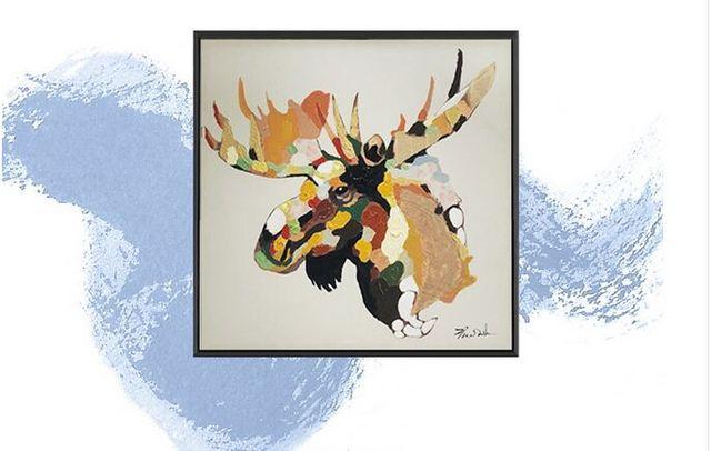 Gran Pintura Al Óleo Animal pintura Cuadro Abstracto Pintado A Mano ...