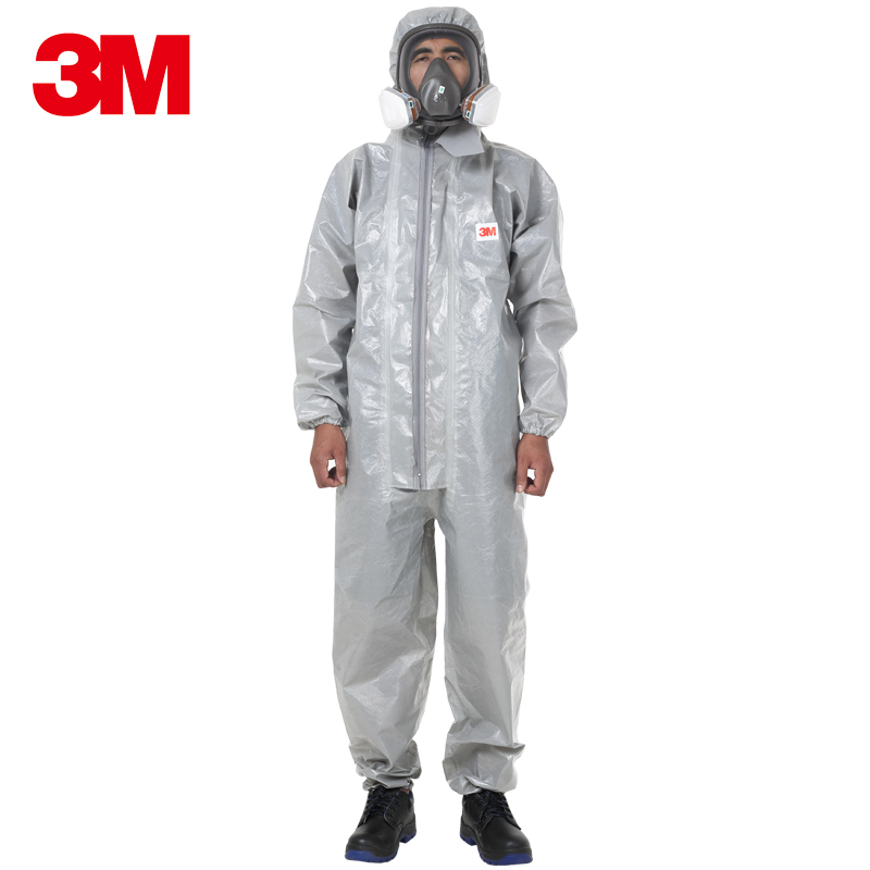 3M 4570 Safety Clothing Chemical Protective Coverall Acid and Alkali Corrosion Resistant Gray Hooded Anti static Dust Particles