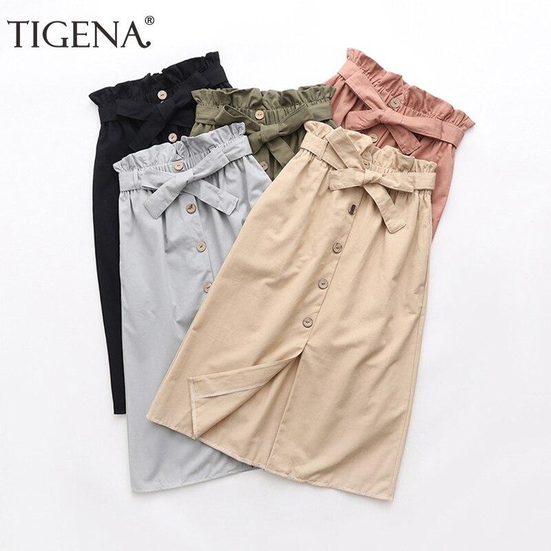 TIGENA Knee Length Women Skirt With Bow Belt Pocket 2019 Summer Split Bud Waist Elegant Midi Skirt Female Office Skirt Ladies