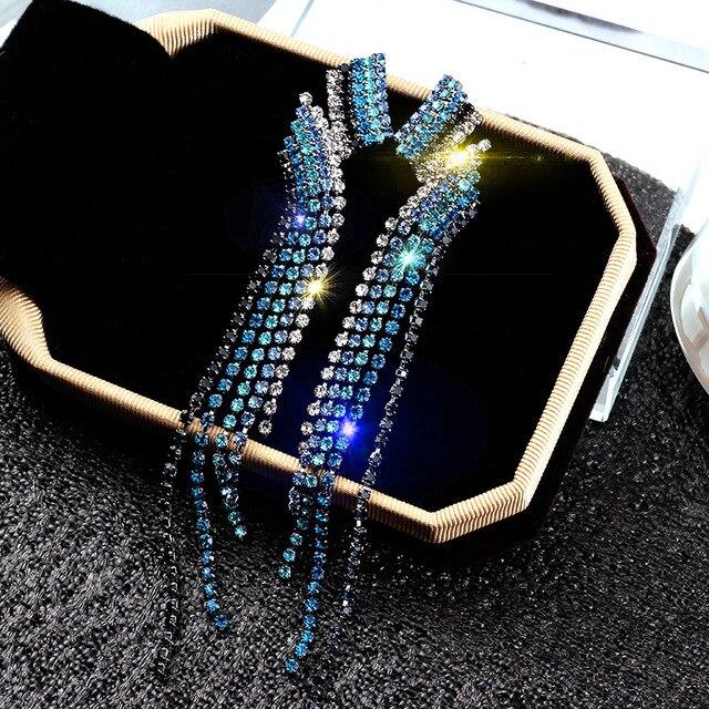 2018 Bling Crystal Long Tassel Earrings Blue Rhinestone Waterdrop Geometric Dangle Drop Earrings Eardrop For Women Jewelry
