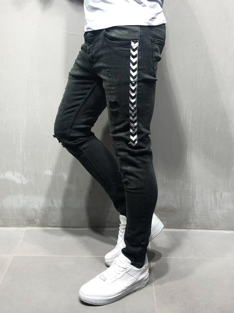 Mens Skinny Jeans 2019 Super Skinny Jeans Men Side Striped Stretch Denim Pants Elastic Waist Big Size