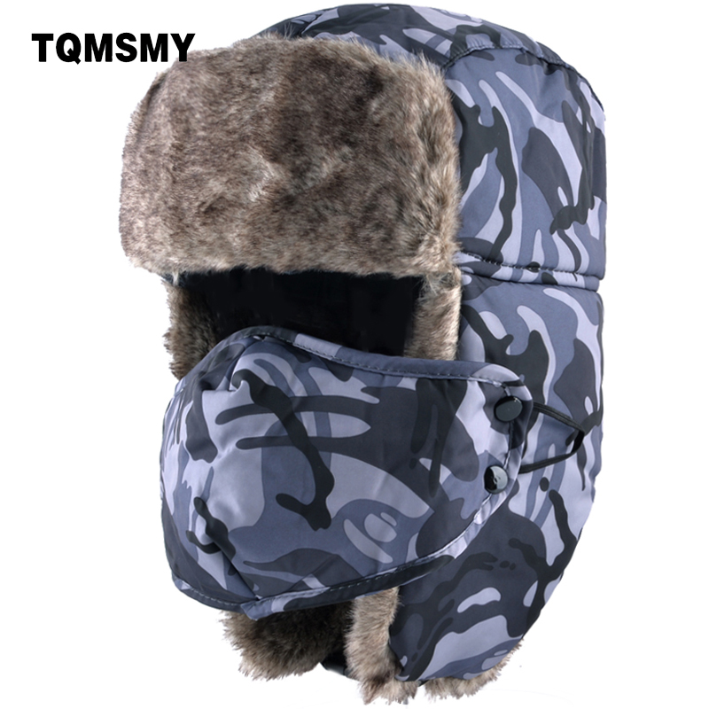 Tqmsmy 2018 New Men Winter Hats Camouflage Thick Warm Winter Women Cap Mens Cycling Hat Ear Flaps Bomber Leifeng Ski Caps Tmc21 Special Buy Apparel Accessories