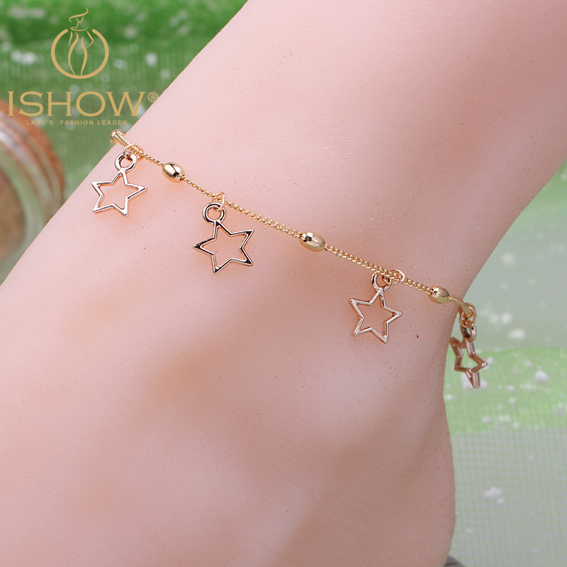 Hot Ing Gold Chain Ankle Bracelets For Women Pulsera Tobillo Pentagon Anklets Jewelry Beach Foot Barefoot Sandals In From