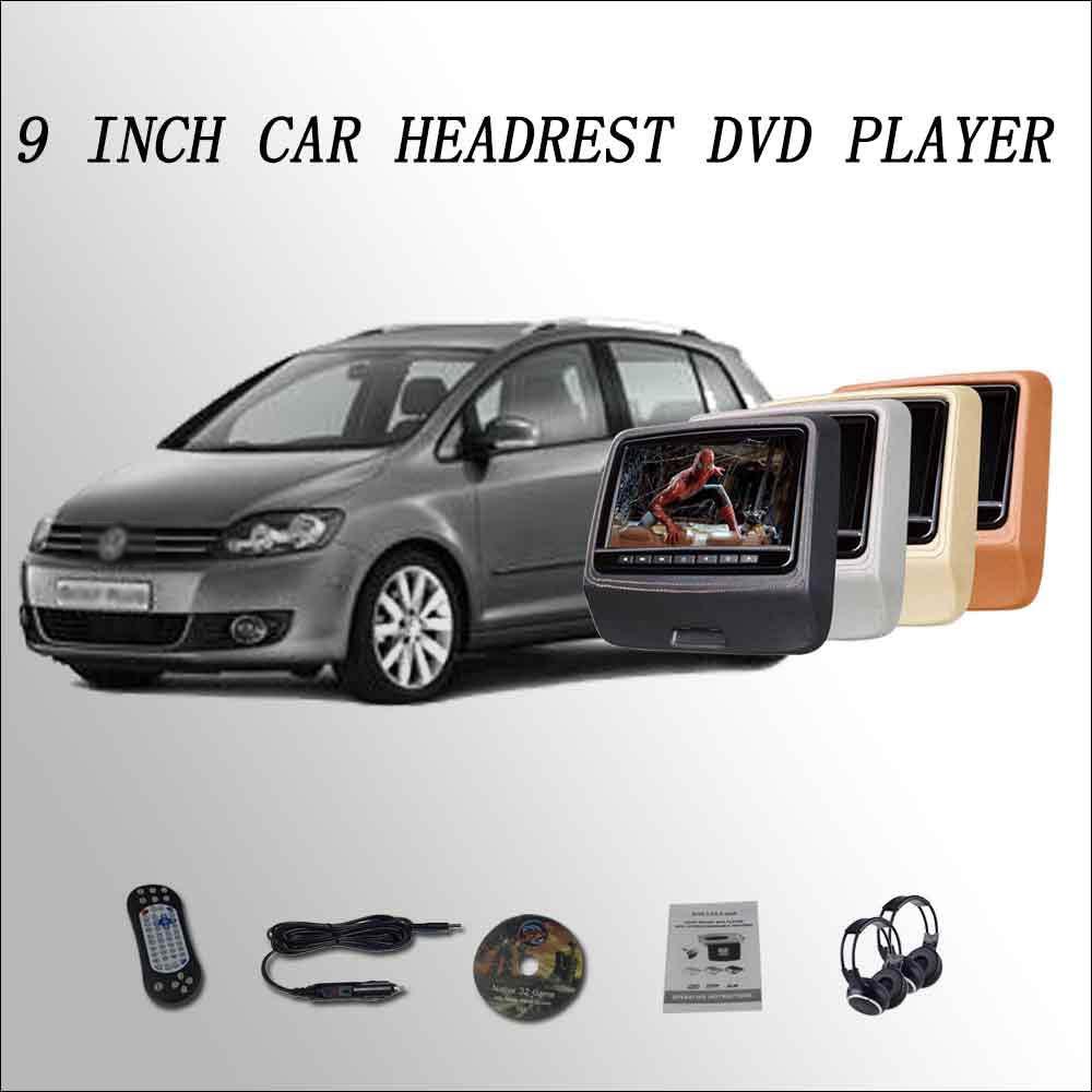 BigBigRoad For VW Golf Plus Car Headrest Monitor digital LCD screen 2*9 DVD player with USB / SD / IR / FM SPEAKER GAME HDMI