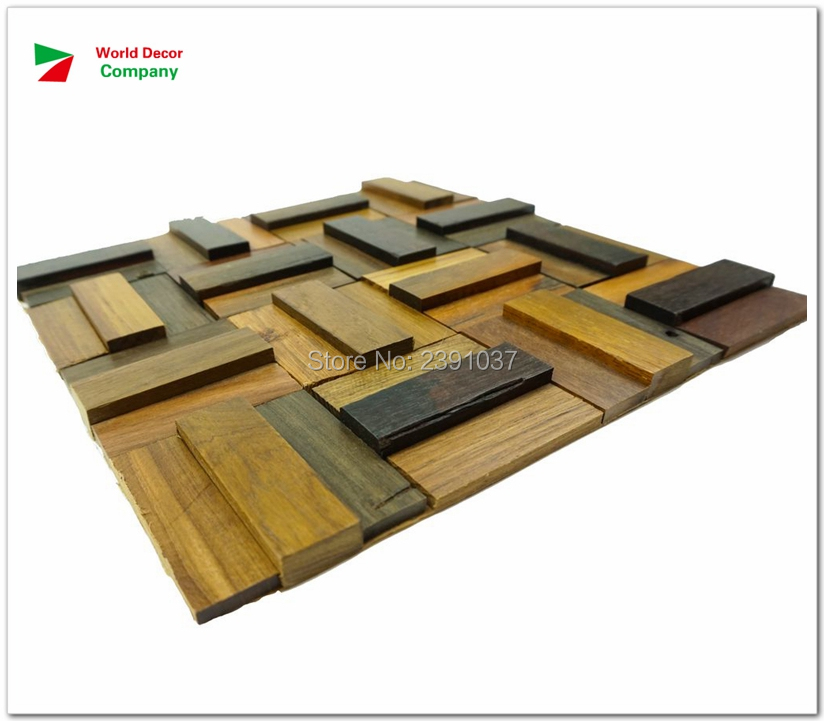 1 Box (11sheet) Size 30*30cm Southeast Asia Style Antique wood mosaic tiles home walls decoration material backsplash 3D panels