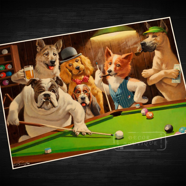 Online Shop Dogs Playing Billiards Propaganda Vintage Kraft - Pool table painting