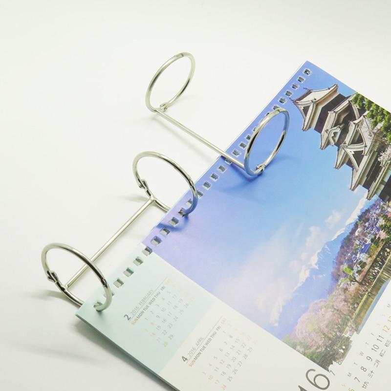 83mm Metal Loose Leaf Book Binder Hinged Ring Binding Rings DIY Nickel Desk Calendar Circle 2 Rings For Scrapbook Album Notebook