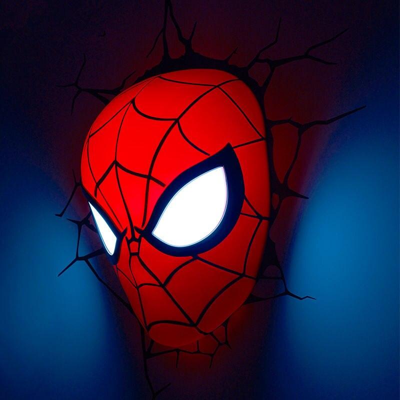 Creative The Avengers spider-man tête casque main gant figures modèle 3D applique Unique lumière LED lampe maison chambre décorations