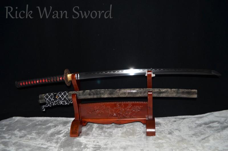 Top Grade Japanese Samurai Katana Sword 1095 High Carbon Steel Clay Tempered Full Tang Real Sharp Blade full rayskin saya