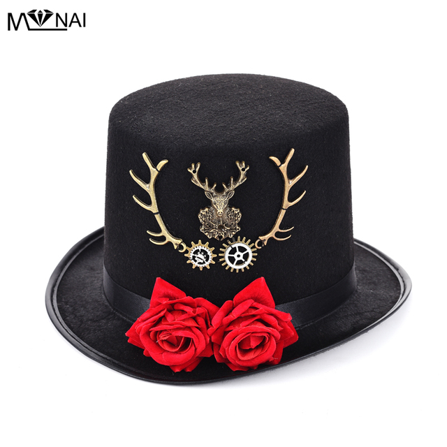 df407576191 Steam Punk Gear   Deer Head Top Hat Retro Gothic Lolita Fedoras Hats with  Rose Flower Cosplay Accessories Costumes