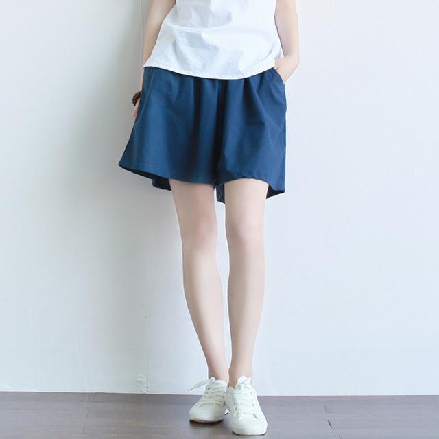 6 Doce Cor Sólida Mulheres de Linho cintura Elástica Shorts Soltos Saia de Verão Casuais Calções Rua Marca de Qualidade Calções Kawaii A057