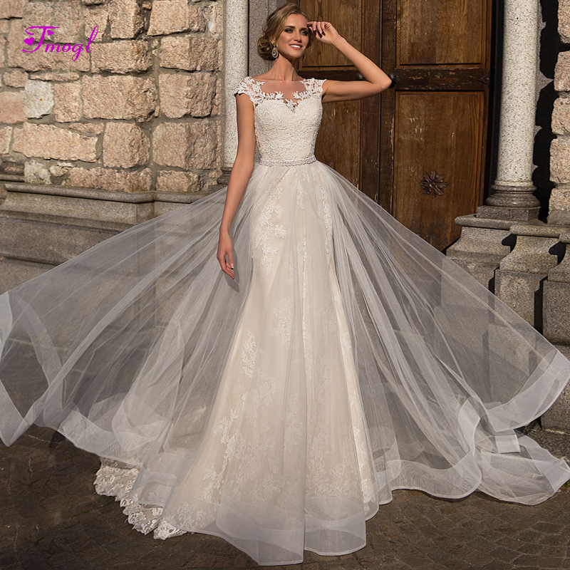 Cap Sleeve Wedding Dresses: Fmogl Luxury Sashes Beaded Cap Sleeve Mermaid Wedding