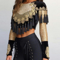 HIGH QUALITY Newest Fashion 2018 Designer Top Women's Long Sleeve Luxury Handwork Beading Tassel Crop Top Tee Shirt