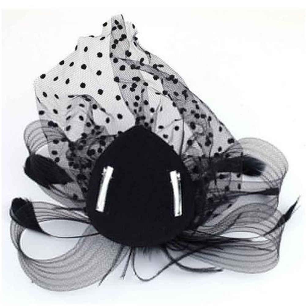 레이디 헷갈리는 베일 웨딩 장식에 대 한 최신 스타일 인기 판매 파티 머리 장식품 헤어 액세서리 깃털 클립 모자 꽃