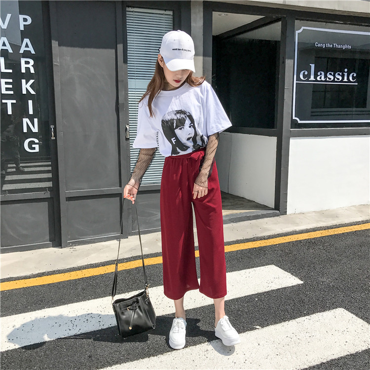 19 Women Casual Loose Wide Leg Pant Womens Elegant Fashion Preppy Style Trousers Female Pure Color Females New Palazzo Pants 60