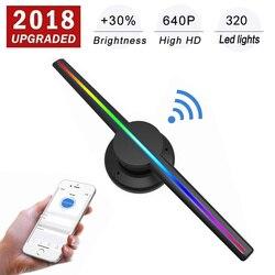 Actualizado 42 cm/16,54 Wifi 3D proyector holográfico holograma reproductor de pantalla LED ventilador de la publicidad de la luz de la aplicación de Control