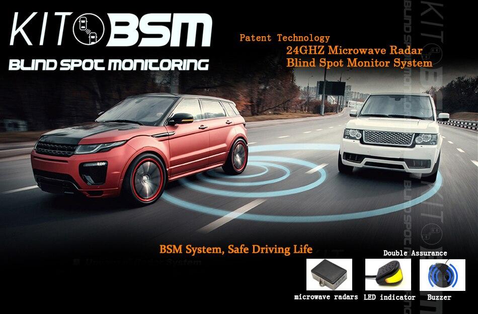kitbsm Change Lane LED Light Warning Buzzer Alarm 24 Ghz Microwave sensor LED Lights 10KM/h Blind Spot Sensor warning System