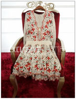 VogaIn 2017 SILK Floral Embroidered Long Sleeved Short Pleated DRESS Sexy V neck Back Lace up with Long Tassels