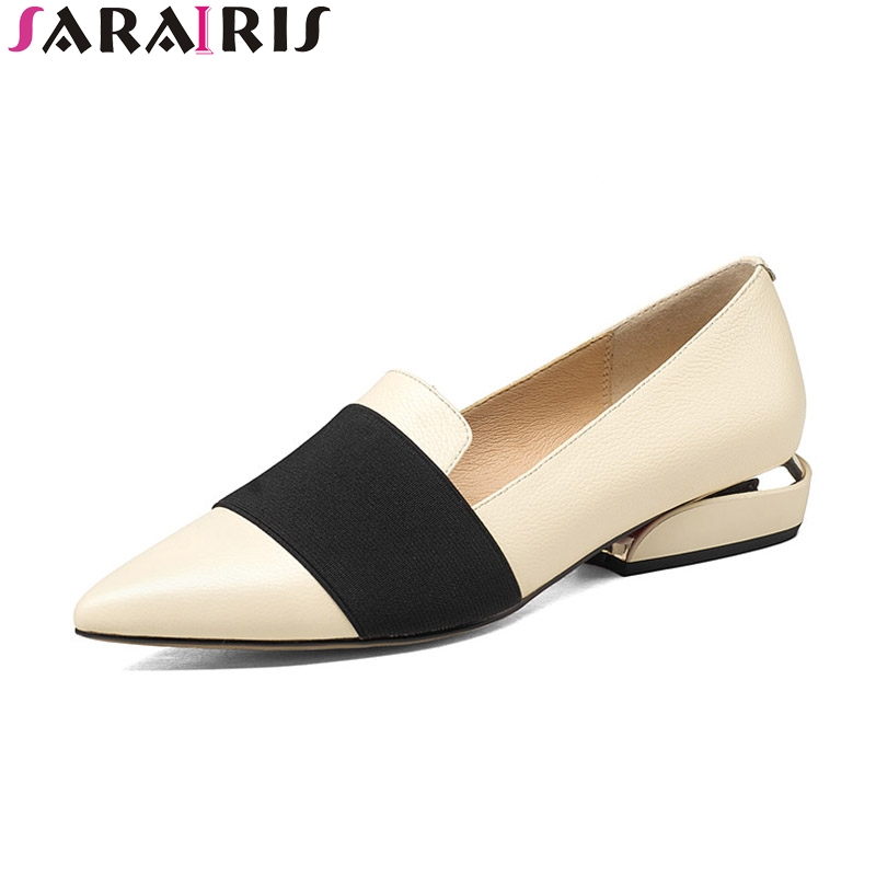 SARAIRIS 2018 Spring Autumn Fashion Large Size 33-43 Cow Leather Shallow Comfortable Pumps Slip-On Pointed Toe Shoes Women Shoes spring autumn women loafer pointed toe pearl comfortable women flats shoes slip on fashion pu leather women s flat with shoes