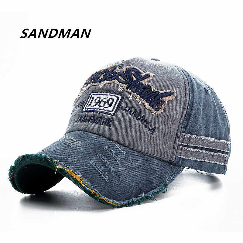 9ebbd1ee6df SANDMAN Brand Wash Cotton Cap For Men Women Gorras Snapback Caps Rock Shark Baseball  Caps Casquette