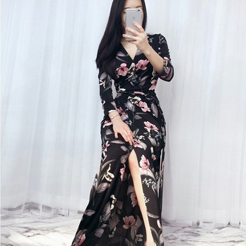 Signore Dress Del Wrap Efztzp Vestito Di Il Long Con Scollo A Beach Longue Estate Floreale 2018 Nero V Donne Robe Maxi wtIIYqfZ