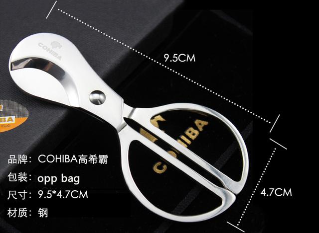 NEW 1PCS Cohiba Silver Stainless steel Scissor Cigar Cutter Knife Scissor Round Head 9.5cm M Size 002