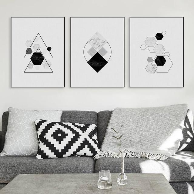 Black white modern original abatract geometric shape canvas a4 art print poster nordic wall picture home