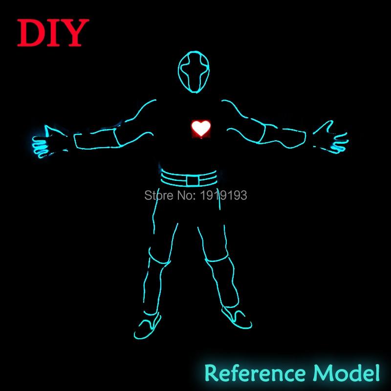 New Fashion Red Heartbeat Män LED-passar EL tråd glödande Kläder - Festlig belysning - Foto 3