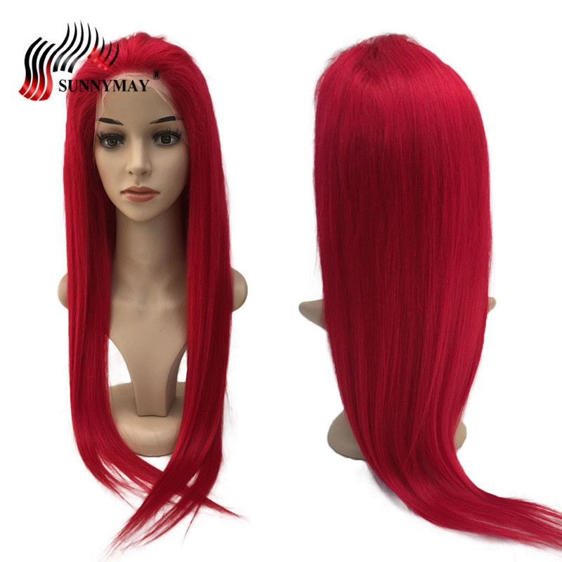 Sunnymay Lace Front Mänskliga Hår Parycken Röd Färg Brasiliansk - Mänskligt hår (svart) - Foto 1